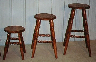 Solid Oak, Country Curve Turned Leg Stools
